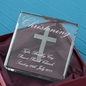 Christening Square Glass Keepsake