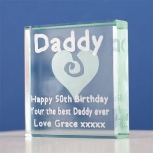 Daddy Engraved Glass Keepsake Gift