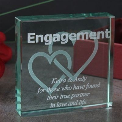 Engagement Square Glass Keepsake