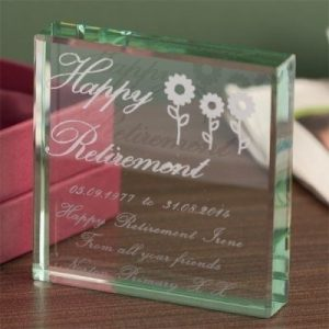 Female Retirement Square Glass Keepsake