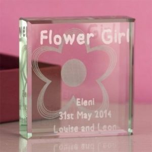 Flower Girl Square Glass Keepsake