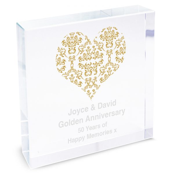 Personalised Gold Damask Heart Crystal Token