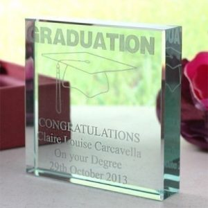 Graduation Square Glass Keepsake