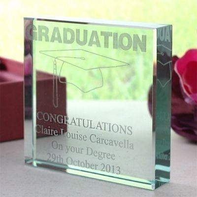 Graduation Square Glass Keepsake
