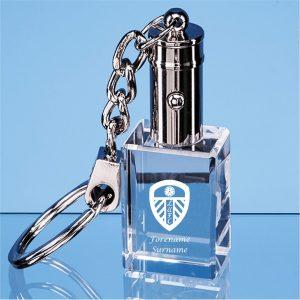 Leeds United F.C. Personalised Crystal LED Keychain