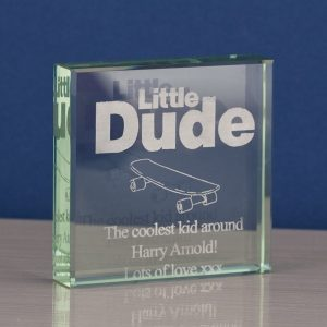 Little Dude Square Glass Keepsake