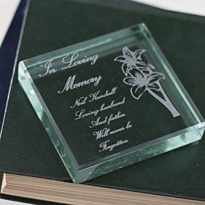 In Loving Memory Glass Keepsake