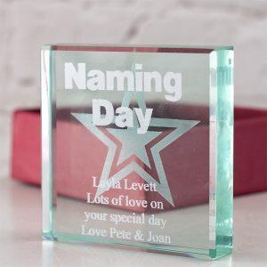 Personalised Naming Day Glass Keepsake