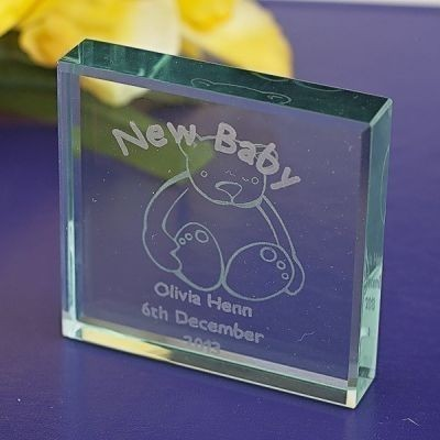 New Baby Glass Keepsake (Teddy)