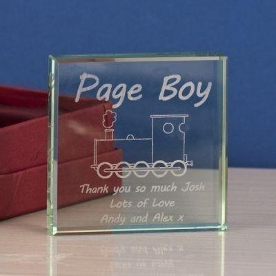 Page Boy Square Glass Keepsake
