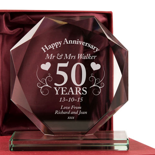 50th Anniversary Glass Gift