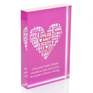 Heart of Love Personalised Glass Keepsake Gift