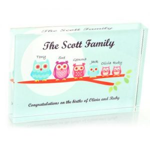 Owl Family Personalised Glass Block