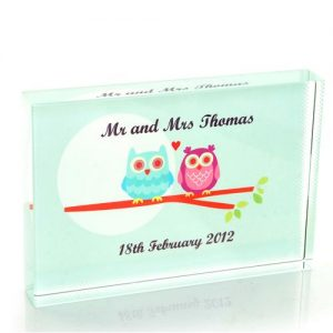 Owl Couple Wedding Crystal Block