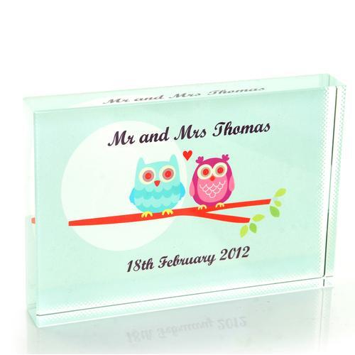 Owl Couple Wedding Crystal Block
