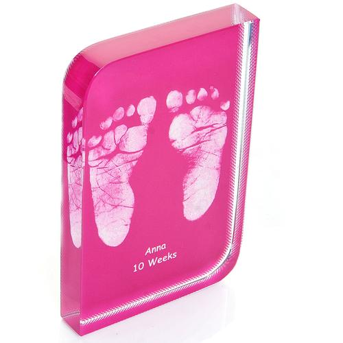 Pink Baby Hand and Footprint Wave Crystal