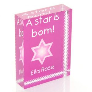 A Star Is Born Violet Personalised Glass Block