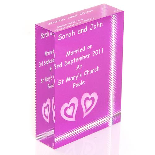 Twin Hearts Wedding Personalised Glass Keepsake Gift