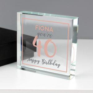 Personalised Birthday Rose Gold Crystal Token