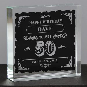 Personalised Birthday Glass Token Crystal - Vintage Typography