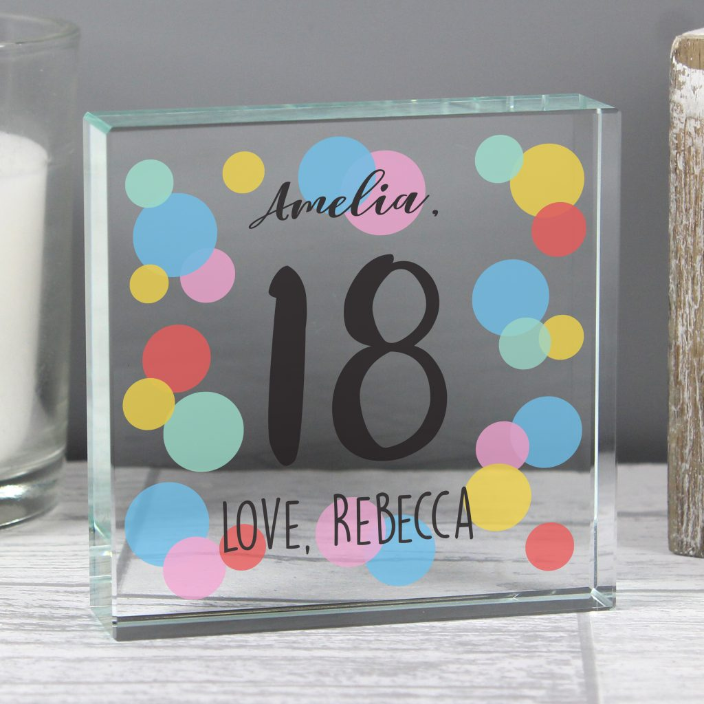 Personalised Crystal Glass Token - Birthday Confetti
