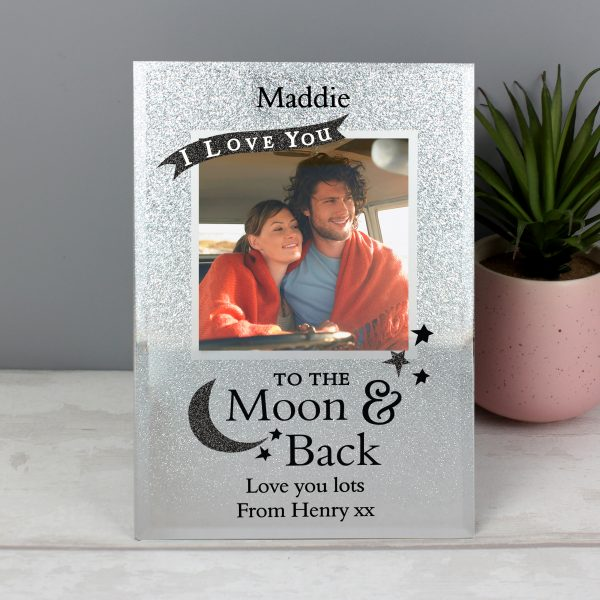 Personalised Moon & Back Glitter Photo Frame