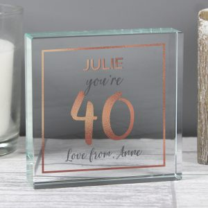 Rose Gold Birthday Personalised Glass Token