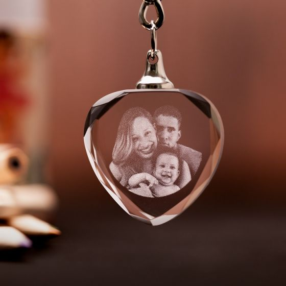 2D Photo Crystal Engraved Keychain