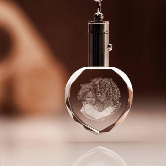 engraved photo heart keyring