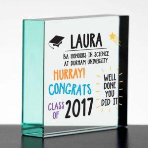 Personalised Graduation Jade Glass Block
