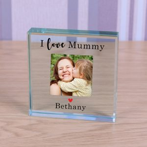 Photo Glass Block Crystal Mum