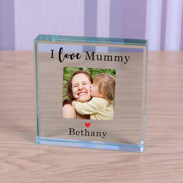 Photo Glass Block Crystal Mum