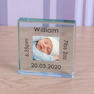 New Baby Photo Keepsake Glass Block