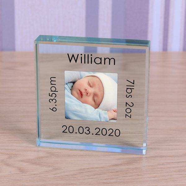 New Baby Photo Keepsake Glass Block