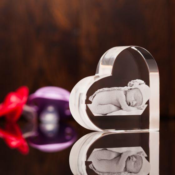Baby Heart Crystal Photo Gift