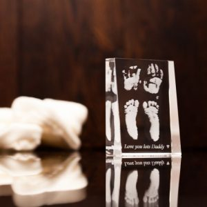 Baby Footprint Handprint Engraved Crystal