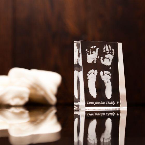 Baby Footprint Handprint Engraved Crystal