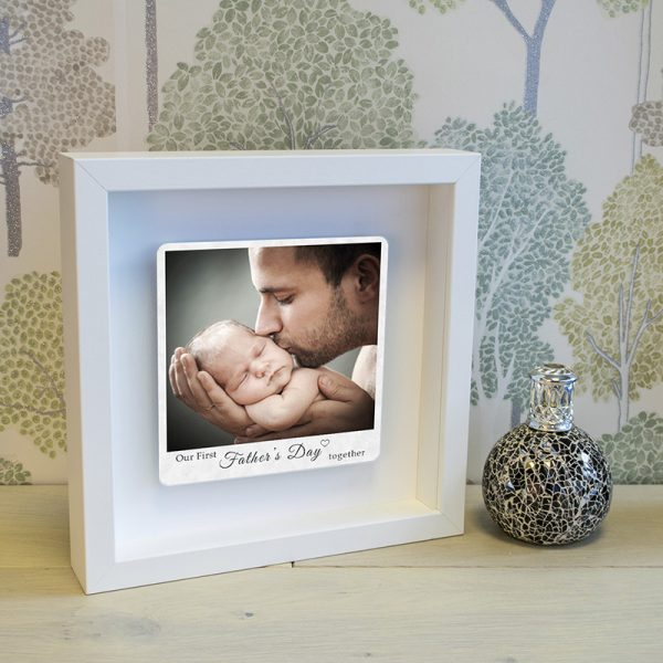 1st fathers day photo box frame