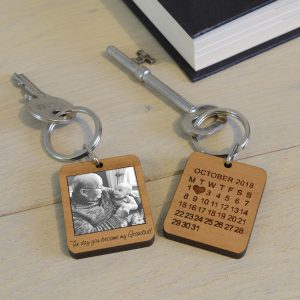 Wooden Photo Keychain Grandparent