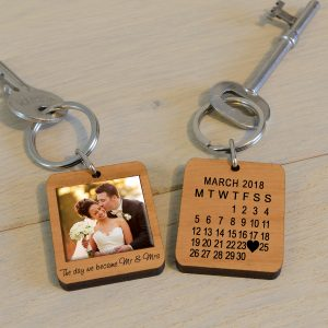 Mr & Mrs Wooden Photo Keychain
