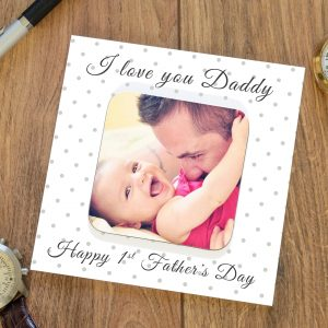 1st Father's Day Photo Coaster Card