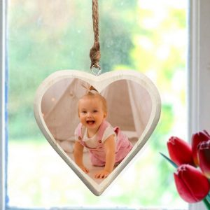 Photo Upload Wooden Hanging Heart