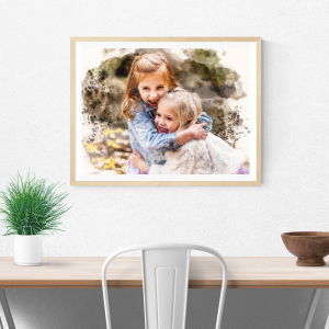 Personalised Watercolour Photo Canvas Print