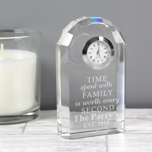 Personalised Time Spent With Family Crystal Clock