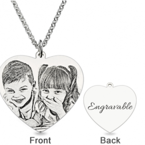 Engraved Heart Photo Pendant