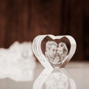 2D Engraved Photo Heart Crystal