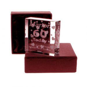 Personalised 60th Jade Block - Hearts
