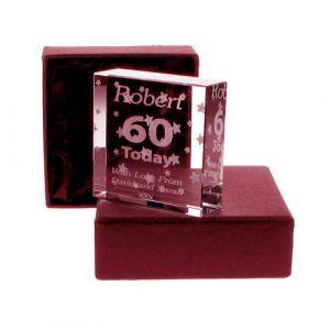 Personalised 60th Birthday Jade Block - Stars