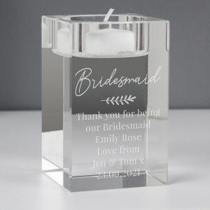 Personalised Leaf Free Text Glass Tea Light Holder