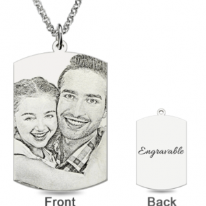 Engraved Dog Tag Photo Necklace